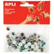 Zelfklevende knutseloogjes met wimpers, 10mm in geassorteerde kleuren