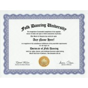 Folk Dancing Dance Degree: Custom Gag Diploma Dancer Doctorate Certificate (Funny Customized Joke Gift - Novelty Item)