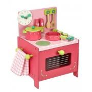 DJECO Drewniana Kuchnia Lili - kuchenka do zabawy dla dzieci z akcesoriami,
