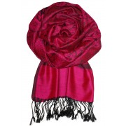 Roma luxusní šála - pašmína tmavě růžová