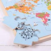 Puzzle din lemn - Harta lumii 35 piese