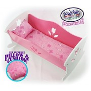 """Matty's Toy Stop 18 Inch Doll Furniture Wooden Doll Rocking Cradle (Crib) with Pink Pillow & Cushion - (18"""" Pink/White Floral) Fits American Girl Dolls"""