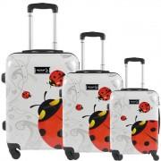 JUSTGLAM Set 3 valigie in abs leggero c/4 ruote fantasia coccinella