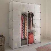 vidaXL Модулен гардероб с 14 отделения, бял, 37 x 146 x 180,5 см