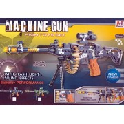 Meizhi Battery Operated Boys Fire Power 25 Light up Toy Machine Gun W/Scope. Flashing Lights and Sound Effects Toy,Popular with Kids