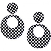 Lucky Jewellery Latest Black And White Color Stylish Hollow Round Ear Stud Hoop Earring For Girls & Women