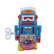 ELECTROPRIME Vintage Wind Up Drumming Drum Robot Mechanical Clockwork Tin Toy Collectible
