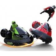 """deAO Rc Bumper Cars Battle """"Bump and Eject"""" Remote Control Stunt Vehicles Set of 2 27Mhz Vs 40Mhz Speed Ejectable Drivers Red Green"""