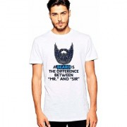 DOUBLE F ROUND NECK HALF SLEEVE WHITE COLOR A BEARD IS DIFFERENCE BETWEEN MR. AND SIR PRINTED T-SHIRTS