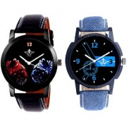 Attractive Blue Dial And 2 Jaguar Analogue Men's Combo Wrist Watch By Google Hub