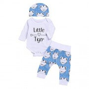 Arrow Little Tiger Romper+Cartoon Tiger Pants Hat Baby Clothes Set Vibola (Size:3M, White)