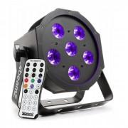 Beamz BFP130 FlatPAR Foco LED 6x6W LED UV mando a distancia IR DMX (Sky-151.216)