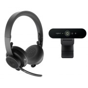 Logitech Zone Wireless Bluetooth Headset - Graphite and Brio 4K Webcam