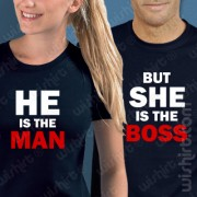 T-shirts He's the Man/She's the Boss