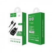 Carregador Hoco 2xUSB 2.4A + Cabo Dados Lightning Iphone 6S, Iphone 7, Iphone 8, Iphone XS, Iphone 11 Preto em Blister