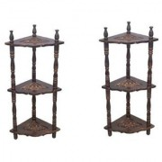 Mini Wooden Corner Rack Side Table Home Decor Carved End Table Furniture Shelve