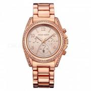 Hannah Martin 1107 reloj de cuarzo con correa de acero inoxidable para mujer con pantalla de fecha? 3 esferas decorativas - rosa dorado