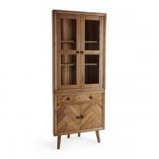 Oak Furnitureland Brushed and Glazed Solid Oak Dressers - Corner Dresser - Parquet Range - Oak Furnitureland