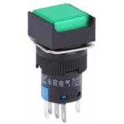 Auto DIY vierkante knop Push Switch met Lock & LED Indicator, DC 24V (groen)