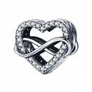 Talisman charm argint 925 KRASSUS Infinite Love, pentru bratara sau pandantiv lant, model inima