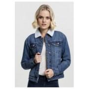 Geaca sherpa denim jacket dama - Urban Classics - ALBASTRU-WASHED