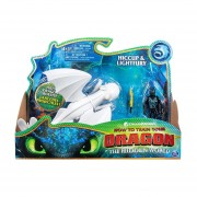 Como Entrenar a tu Dragon The Hidden World Hiccup y Lightfury Figura de accion 2 pack