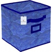Billion Designer Laheriya Design Non Woven Small Foldable Storage Organiser Cubes/Boxes (Blue) - BILLION36062 BILLION036062(Blue)