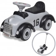 vidaXL Grey Retro Children's Ride-on Car with Push bar