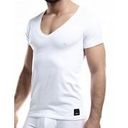 Cut For Men C4M Solid Deep V Neck Short Sleeved T Shirt White C4M08