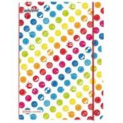 Caiet A4, 2 x 40 file, dictando si matematica, coperta PP, elastic rosu, HERLITZ My.Book Flex Smiley World Rainbow
