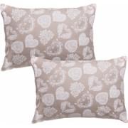 Set 2 fete de perna decorative BonDia Model Coeur 090 50 cm x 70 cm Bumbac Bej/Alb Inimi/Flori