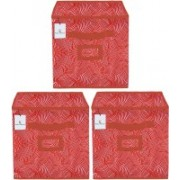 Billion Designer Laheriya Design Non Woven 3 Pieces Small Foldable Storage Organiser Cubes/Boxes (Orange) - BILLION36077 BILLION036077(Orange)