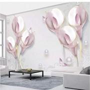 Zjxxm Papel tapiz mural personalizado 3D Relieve estereoscópico Calla Lily Foto Sala de estar minimalista moderna TV Fondo Papier Peint Mural 3D-200cmx140cm