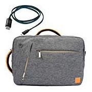 Gray VanGoddy Durable Fashion Briefcase Messenger Backpack Shoulder Bag for Google Chrome Book series + Micro USB Cable