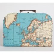 wereld kado - Koffertje met vintage wereldkaart - extra groot | Sass & Belle