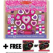 Shimmering Hearts Wooden Bead Set (45 Beads + 3 String Laces) + FREE Melissa & Doug Scratch Art Mini-Pad Bundle [94955]