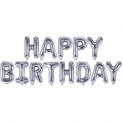 Stylewell Happy Birthday Solid Printed Silver Color Alphabets Letter Foil-Air Balloon For Birthday Party Decorations