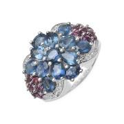 Inel floare din argint cu safir albastru si rodolit
