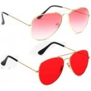Elligator Aviator Sunglasses(Pink, Red)