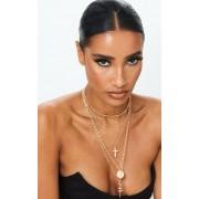 PrettyLittleThing Collier doré à cinq chaînes et pendentifs multiples, Doré - One Size