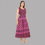 UniqChoice Traditional Paisley printed Cotton Stitched Gown For Women's Maxi Long Dress Pink Color( Free Size)