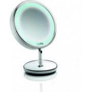 Oglinda cosmetica cu picior si iluminare LED Laica PC5004 2 fete Factor de marire 5x Argintiu