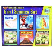 WORLD of SCIENCE 6 in 1 Set Make Your Own Volcano Tornado Crystal Gems Dinosaur Fossil Snow Toy Kit