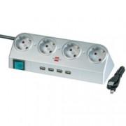 Разклонител Brennenstuhl USB, 4 гнезда-4x USB, обезопасени спрямо деца контакти, 1,8m, сив