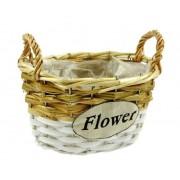 Vessző kaspó ovál Flower 20x16x16cm 275-187/S - Fonott áruk