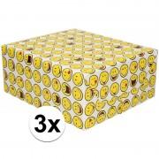Shoppartners 3x Inpakpapier/cadeaupapier wit met smileys 200 x 70 cm