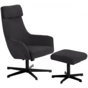Комплект кресло с табуретка ERICA, асфалтово сив, 3550904