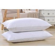 2 or 4 Goose Feather & Down Pillows w/ Cotton Cover