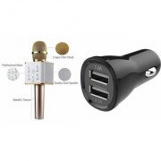 Zemini Q7 Microphone and Car Charger for HTC DESIRE 501 DUAL SIM(Q7 Mic and Karoke with bluetooth speaker | Car Charger )