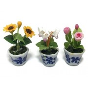 Mr_Air_Thai_Miniature Cactus and Flower 3Pc Miniature Clay Dollhouse Fairy Garden Mini Plant Trees Ceramic Paint Furniture Bundles Artificial Flowers Tiny Orchid #085